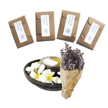4 Lavender Vanilla Scented Mini Sachets - Rustic Lavender Wedding - DIY Party Favors - Kraft Brown - Can Be Personalized
