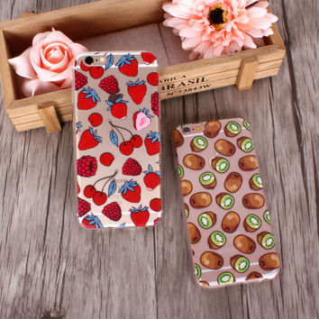 Strawberry and kiwi fruit mobile phone case for iphone 5 5s SE 6 6s 6 plus 6s plus + Nice gift box 072701