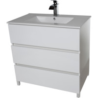 "Samba 32"" Standing Bathroom Vanity Cabinet Set Bath Furniture With Single Sink Estepa/ White/ Wenge"