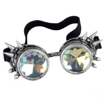 FLORATA New Victorian Steampunk Goggle Glasses Welding Cyber Punk Spiked Gothic Cosplay