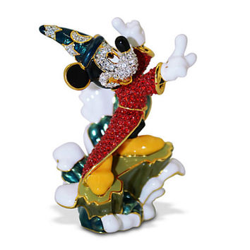 Disney Parks Mickey Mouse Sorcerer on Wave Jeweled Figurine by Arribas Brothers New with Box