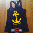 Never Sink Nautical Anchor Tank - Summer Workout Racerback Tanks For Women Work Out Gym