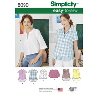 Simplicity Pattern 8090 Misses' Easy-to-Sew Button Shirt and Pullover Top