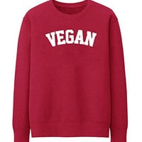 VEGAN VEGATARIAN NON MEAT EATER WOMAN UNISEX Sweatshirt Jumper Sweater Tops - Red