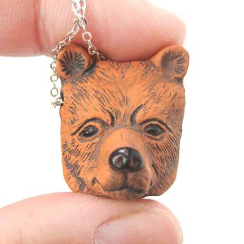 Realistic Grizzly Bear Head Shaped Porcelain Ceramic Animal Pendant Necklace | Handmade