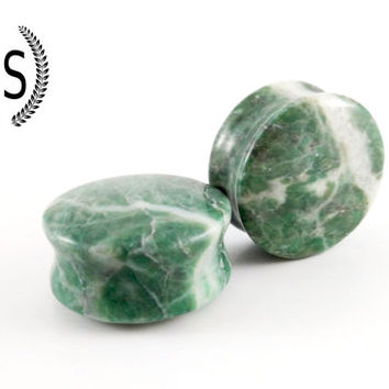 "Chinese Jadeite Ear Plugs, Untreated Speckled Hand carved Jadeite Stone, Double Flare Saddle Fit, 22mm, 24mm, 7/8"", 15/16"", Sold as a PAIR"