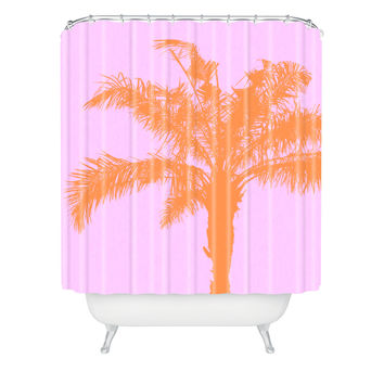 Deb Haugen Orange Palm Shower Curtain