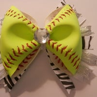 Softball Hair Bow - REAL Softball (All Yellow)