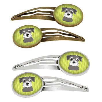 Checkerboard Lime Green Schnauzer Set of 4 Barrettes Hair Clips BB1268HCS4