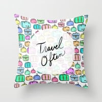Travel Often Throw Pillow by Lisa Argyropoulos