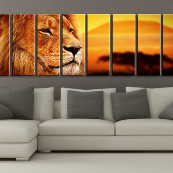 Large Wall Art Canvas African Lion at Sunset CANVAS PRINT ART 8 Panel Canvas Sunset and Lion Ready to Hang - MC153