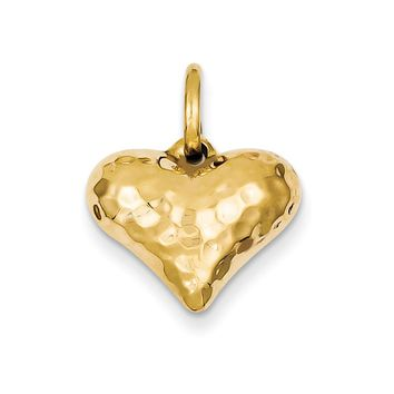 14k Yellow Gold Hollow Faceted Puffed Heart Charm or Pendant, 16mm