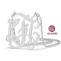 """KFC 1.25"""" Monogram Necklace 925 Sterling silver Necklace name Necklace Personalized wedding gift Monogram"""