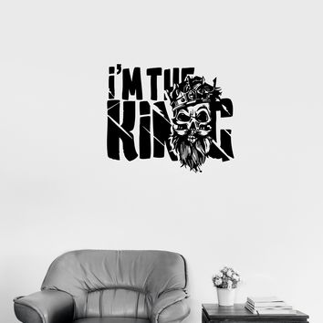 Wall Decal Skeleton Skull King Crown Phrase Vinyl Sticker (ed1014)