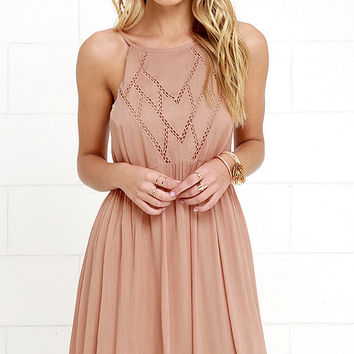 Leaf in the Wind Dusty Peach Embroidered Dress