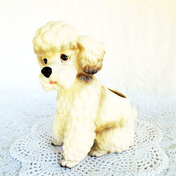 White French Poodle Planter, Vintage Lefton Poodle, White Porcelain Poodle, Poodle Figurine, Cottage Chic, H7859,8 by 7 inches,Retro,Kitsch
