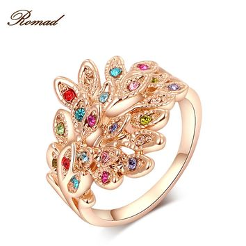 2017 Romad Brand Peacock Rings Rose Gold Color Genuine Austrian Crystals Fashion Women Wedding Jewelry Christmas Gift