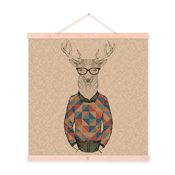 Deer Hipster Gentleman Animal Portrait Cartoon A4 Wood Framed Canvas Painting Wall Art Print Picture Poster Hanger bedroom Decor