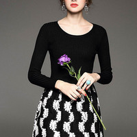 Black Round Neck Long Sleeve Knit Dress