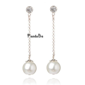 Stylish Wedding Jewelry Glass Pearl Ball Stud Earrings, with Iron Chains and Rhinestone Beads, Jewelry Accessories, White, 50mm