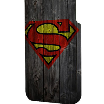Best 3D Full Wrap Phone Case - Hard (PC) Cover with Wood Superman Logo Design