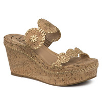 Leigh Wedge Sandal in Gold Fleck by Jack Rogers