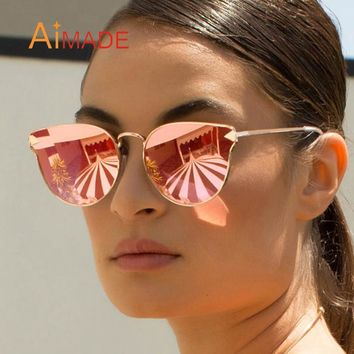 Aimade Women Fashion Oversize Cat Eye Sunglasses Vintage Metal Frame Mirror Big Cateye Sun Glasses Female Outdoor Eyewear UV400