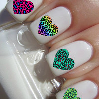 Animal Print Heart Nail Decals