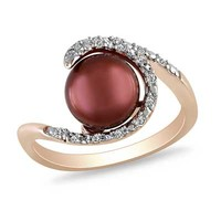 8.0-8.5mm Chocolate Cultured Freshwater Pearl and 1/10 CT. T.W. Diamond Ring in Rose Rhodium Plated Sterling Silver