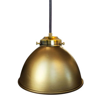 "Factory 7 1/16"" Metal Shade Pendant Light- Brass"