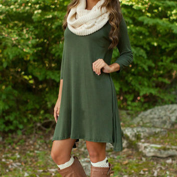 Army Green Elegant Fall O Neck Dresses