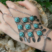 belly dancer slave bracelet turquose hand chain hand flower enameled  in Moroccan indie belly dancer boho hipster and gypsy style