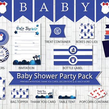 Dr Who Themed Baby Shower, Printable Party Pack,Tardis Blue, Time Lord, Police Box, Blue Box, Bow Tie, Baby Shower, Party, DIY Decorations
