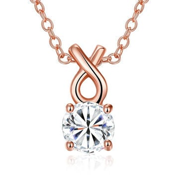 Rose Gold Plated Classic Tiffany's Diamond Necklace