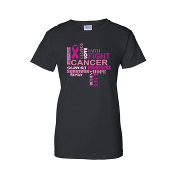 Women's Breast Cancer Awareness Support Courage Love Fight Juniors T-Shirt