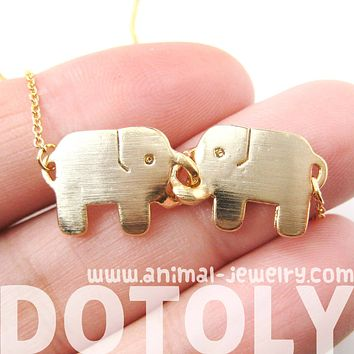 Elephant Linked Friendship Animal Pendant Necklace in Gold | DOTOLY