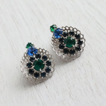 Vintage Blue & Green Glass Clip On Earrings - Silver Tone Prong Set Costume Jewelry / Sapphire and Emerald