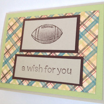 Birthday Card with Football Handmade Birthday Card, Boy Birthday Card Green and Brown with Plaid Masculine Birthday Card with Cream Envelope