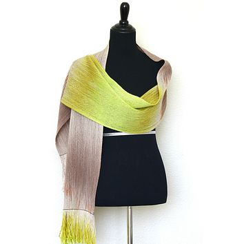Woven scarf in beige and citron green colors, gift for her, gift for him