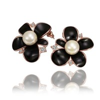 18K Rose Gold Plated Pearl Centered Asymmetric Petals Black Flower Stud Earrings