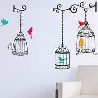 Wake Up Frankie - Birdcages Wall Decal : Teen Bedding, Pink Bedding, Dorm Bedding, Teen Comforters
