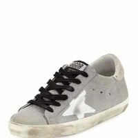 Golden Goose Superstar Flag Glitter Fabric Low-Top Sneaker