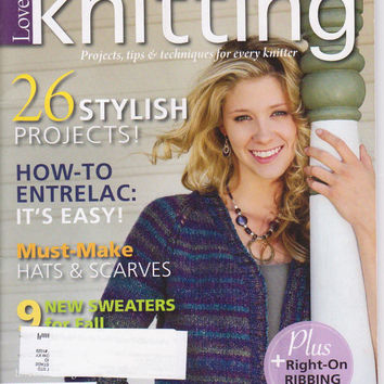Love of Knitting magazine Fall 2012: 11 simple fall knitting patterns, fall hats and scarves for beginners, entrelac, how to make ribbing