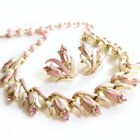 Vintage Coro Pink Enamel Flower Rhinestone Necklace and Earrings Set, Floral Necklace, Gold Tone Metal, Light Pink, Demi Parure