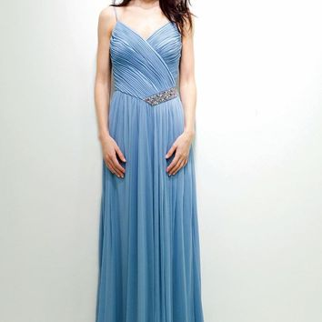 Decode 1.8 - 181489 Surplice Ruched V-Neck Jeweled Chiffon Gown
