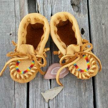 Baby moccasins Toddler moccasins Soft leather moccasins thunderrose moccasins