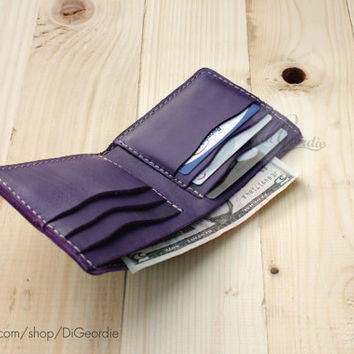 Cute woman wallet minimal leather wallet billfold leather wallet slim wallet purple leather wallet genuine leather wallet purple wallet