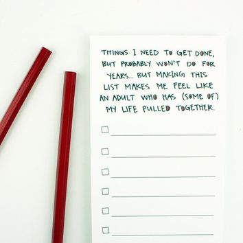 Funny Notepad - Things I Need To Get Done Notepad - To Do List - Magnetic Notepad - Attachable Magnet - Feel Like An Adult