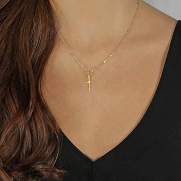 ALIUTOM 2017 Summer Gold Chain Cross Necklace Small Gold Cross Religious Jewelry