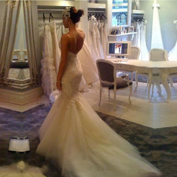 WD0223 Luxury Mermaid Wedding Dresses Sexy Lace Appliqued Beaded Wedding Gowns Spaghetti Straps Custom Made Robe De Mariage